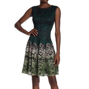 Gabby Skye Women Printed Fit Flare Dress Evergreen